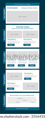 responsive newsletter template for business or non-profit organization - stock vector