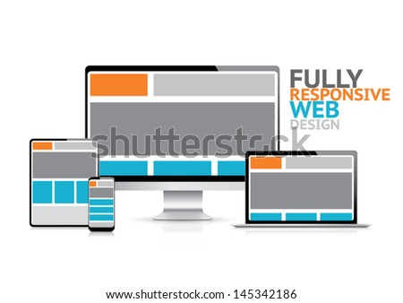 Responsive web design concept in electronic devices vector illustration eps10 - stock vector