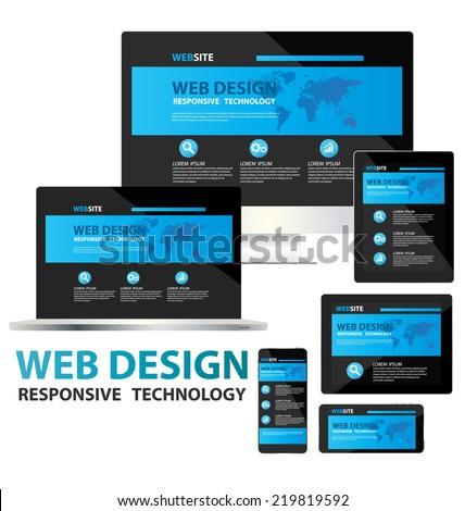 responsive web design concept vector EPS10 - stock vector