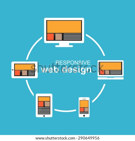 Responsive web design illustration. Flat design. Banner illustration. - stock vector