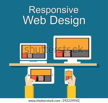Responsive web design illustration. Flat design. Banner illustration.  - stock vector