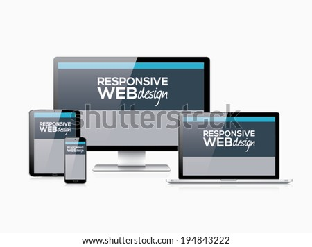 Responsive web design in electronic devices vector eps10 - stock vector