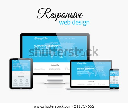 Responsive web design in modern flat vector style concept image - stock vector