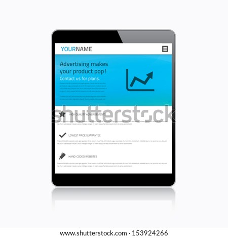 Responsive web design in modern tablet - stock vector