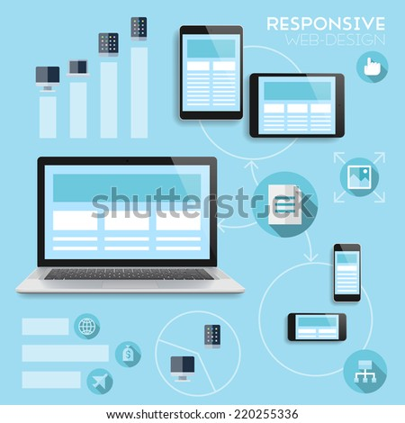 Responsive web-design infographics concept. Vector eps10 with transparency. - stock vector