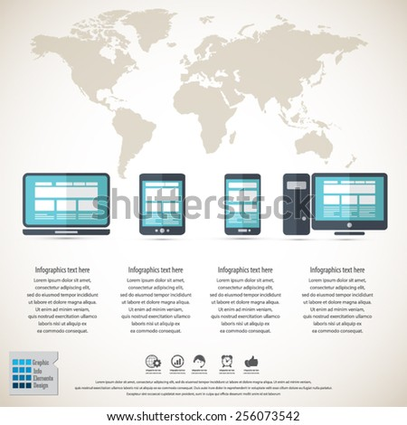 Responsive web design on different devices infographic / background with world map - EPS10 vector.All elements in separate layers. - stock vector