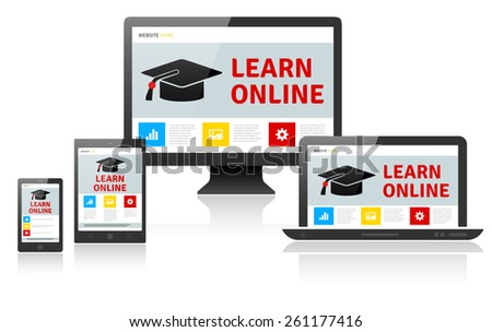 Responsive web design on different devices - LEARN ONLINE. Vector illustration. - stock vector