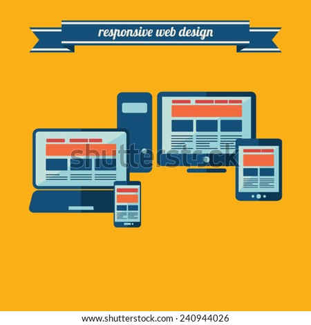 Responsive web design on different devices-masses of copy space for your text - EPS10 vector background  - stock vector