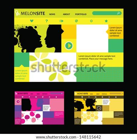 Responsive web design templates in various colors and compositions. Modular, trendy design. MelonSite - green, orange, yellow. BerrySite - purple, pink,fuxia. HoneySite - orange, yellow, ochre - stock vector