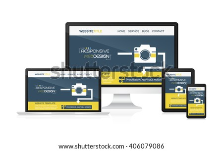 Responsive web design vector - computer, laptop, tablet and smartphone. Idea for your website presentation. - stock vector