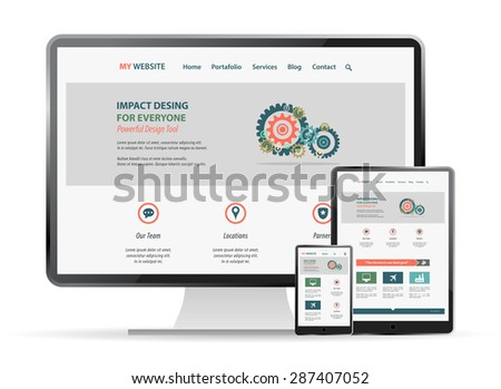 responsive web site  design mockup - stock vector