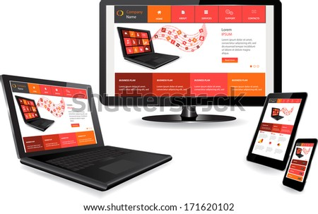 Responsive website template on multiple devices - stock vector