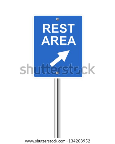 Rest area traffic sign on white - stock vector