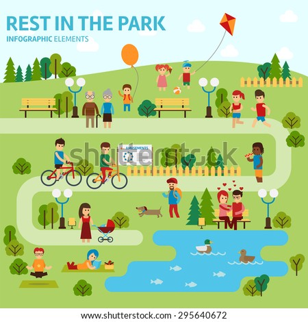Rest in the park infographic elements flat vector design - stock vector