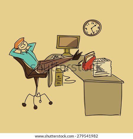 rest on workplace vector illustration - stock vector