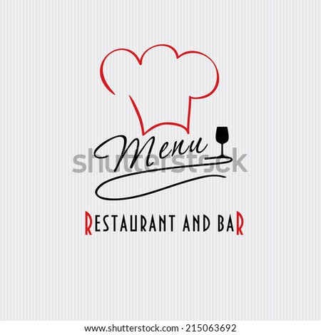 Restaurant and bar menu list. Vector illustration of chief hat and wine glasses. - stock vector