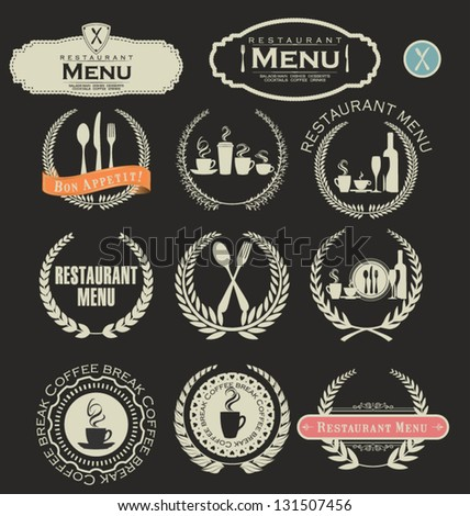 Restaurant and cafe labels - stock vector