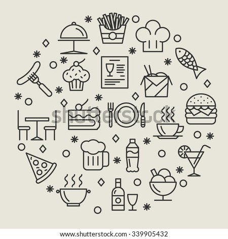 Restaurant and foods outline icons set. Drink and sausage, fish and wine, coffee and dish, vector illustration - stock vector