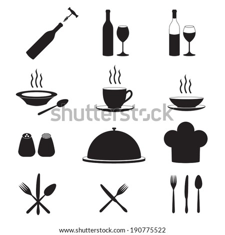 Restaurant and kitchen icons  - stock vector