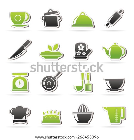Restaurant and kitchen items icons -  vector icon set, Created For Print, Mobile and Web  Applications - stock vector