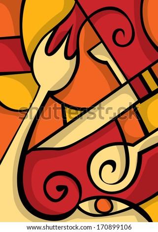 Restaurant Art,  Cafe Art Vector - stock vector