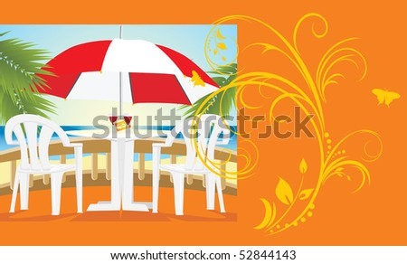 Restaurant at a sea. Kind from a balcony. Background for card. Vector - stock vector