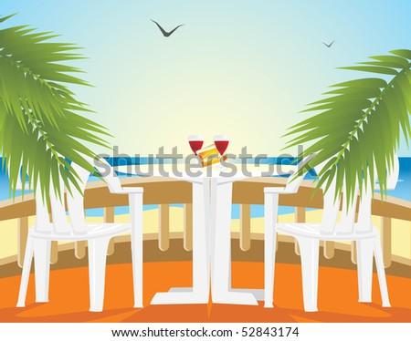 Restaurant at a sea. Kind from a balcony. Vector - stock vector