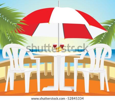 Restaurant at a sea. Vector - stock vector