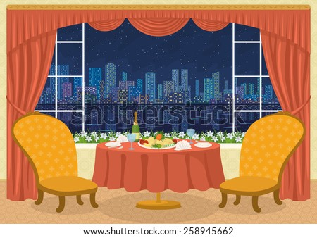 Restaurant background with two chairs and dining table with plates, napkins, glasses, champagne bottle and potato dish on a platter in front of the window with view night city, cartoon. Eps10 Vector - stock vector