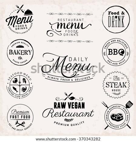 Restaurant Badges and Labels in Vintage Style. Menu Design Elements. - stock vector