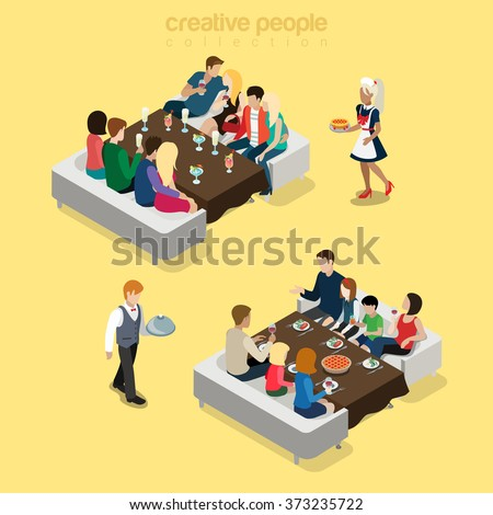 Restaurant big group table waiter situations flat 3d isometry isometric food meal concept web vector illustration. Young friends company party family dinner. Creative people collection. - stock vector