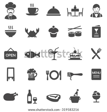 Restaurant black icons set.Vector - stock vector