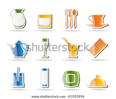 restaurant, cafe, bar and night club icons - vector icon set - stock vector