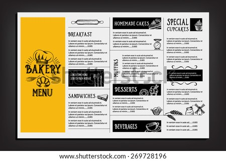 Restaurant Cafe Menu Template Design Food Stock Vector 264949700