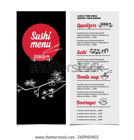 Sushi menu restaurant cafe design template stock vector 724859239 restaurant cafe menu template designctor illustration pronofoot35fo Choice Image