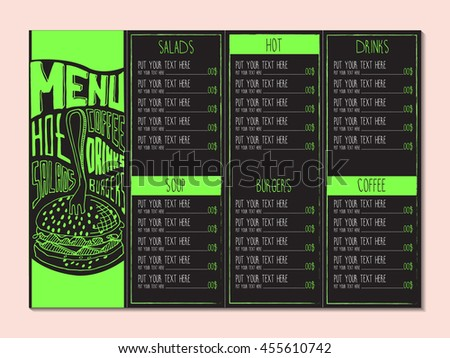 Restaurant cafe menu. Vector cafe template with hand-drawn graphic