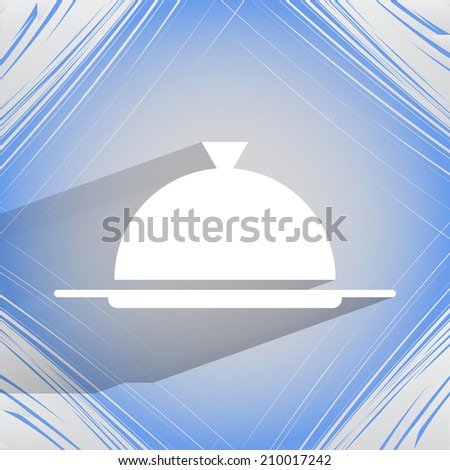 Restaurant cloche. Flat modern web button on a flat geometric abstract background  Vector. EPS10 - stock vector