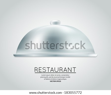 Restaurant cloche food tray to serve dish meal restaurant menu design template layout vector illustration - stock vector