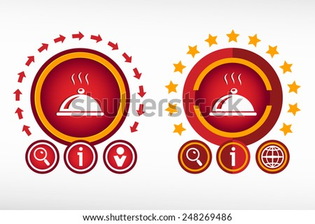 Restaurant cloche icon and creative design elements. Red design concept - stock vector