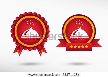 Restaurant cloche icon stylish quality guarantee badges. Colorful Promotional Labels - stock vector