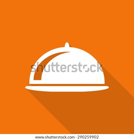 Restaurant cloche icon with long shadow. - stock vector