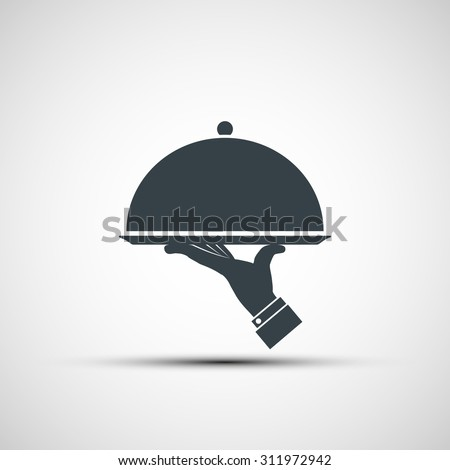 Restaurant cloche in hand the waiter. Logo design. Stock vector image. - stock vector