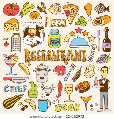 Restaurant colorful doodle set 1. Hand drawn. Vector illustration. - stock vector