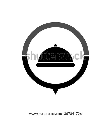 Restaurant dish - black vector icon; map pointer;  message bubble - stock vector
