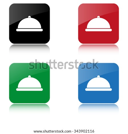 Restaurant dish  - color vector icon  with shadow - stock vector