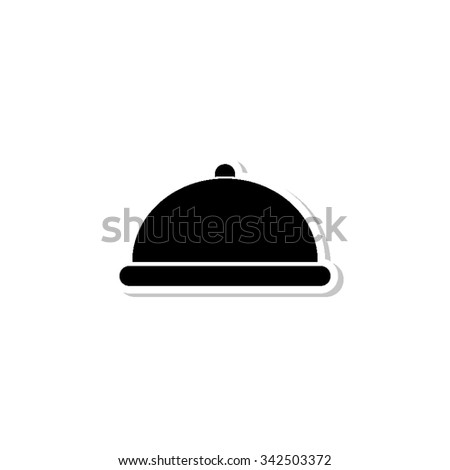 Restaurant dish - vector icon with shadow - stock vector