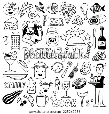 Restaurant doodle set 1. Hand drawn. Vector illustration. - stock vector