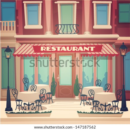 Restaurant facade. Vector illustration. - stock vector