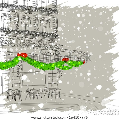 Restaurant facade with Christmas decorations - stock vector
