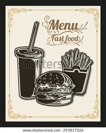 Restaurant Fast Foods menu burger on chalkboard vector format eps10 - stock vector